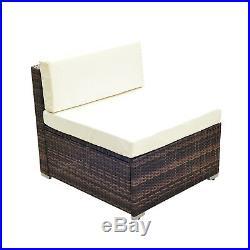 5 Pieces Rattan Sofa Set Wicker Sectional Furniture Cushion Black Brown Garden