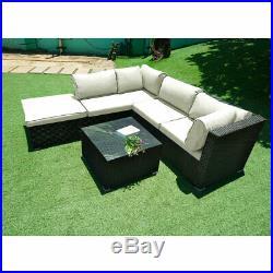 5 Seater Rattan Garden Corner Sofa Table Chair Furniture Set Patio Conservatory