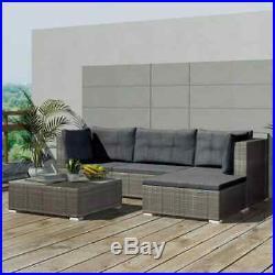 5 pcs Garden Lounge Set Patio Corner Sofa Furniture Table Set withCushions Rattan