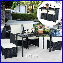 5pc Rattan Patio Set Outdoor Furniture Garden Table+2x Ottomans+2x Chairs