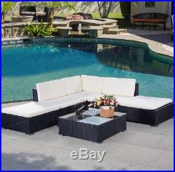 6PC Rattan Outdoor Garden Furniture Patio Corner Sofa Set PE Wicker Steel Seat