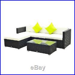 6Pcs Rattan Sofa Furniture Set With Cantilever Parasol Patio Garden with Cushion