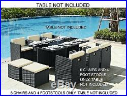 6 Garden Furniture Dining Chairs and 4 Footstool Only Black PE Rattan New