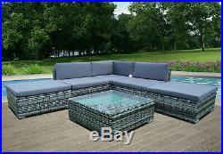 6 Piece Rattan Garden Furniture Patio Corner Sofa Set PE Wicker Steel Outdoor