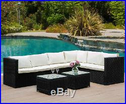 6 Seater Rattan Corner Garden Furniture Set Sofa Table Stool Patio Conservatory