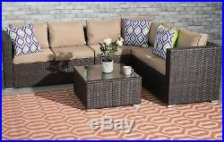 6 Seater Rattan Garden Corner Sofa Set Table Outdoor Patio Furniture Set Brown