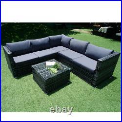 6 Seater Rattan Garden Corner Sofa Table & Chair Furniture Set Outdoors Lounge