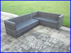 6 seater grey rattan corner sofa 2 table outdoor garden furniture set cushions