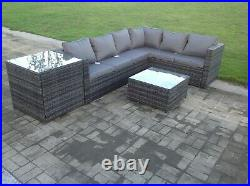 6 seater rattan corner sofa set table outdoor garden furniture with extra table