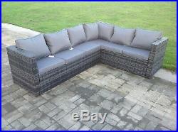 6 seater wicker rattan corner sofa set table outdoor garden furniture patio grey