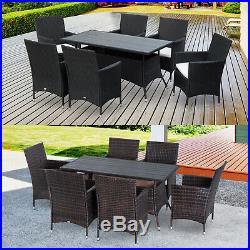 7 Piece Dining Set Rattan Furniture Garden All Weather Steel Black Brown