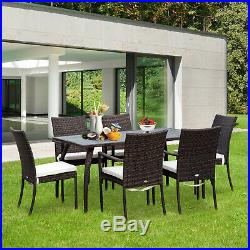 7 Pieces Rattan Dining Set Furniture Garden Table Chair Cushion Wicker Brown