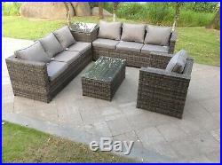 7 seater rattan sofa 2 coffee tables corner patio outdoor garden furniture grey
