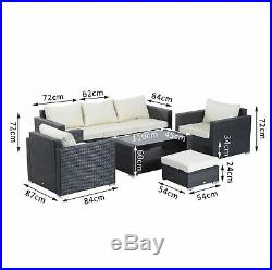 7pc Rattan Sofa Set Patio Garden Furniture Outdoor Wicker Table Chairs Seater