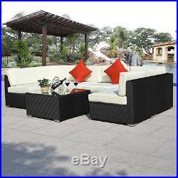 7pcs Rattan Garden Outdoor & Indoor Wicker Patio Furniture Sofa Set Alumnium New