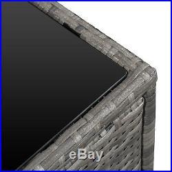 8Pcs Patio Rattan Sofa Garden Furniture Set Table with Cushions 6 Seater Grey