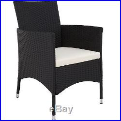 8 Seater + Table Rattan Garden Furniture Dining Chairs Set Outdoor Wicker black