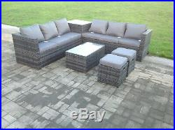 8 seater grey rattan sofa with 2 table set conservatory outdoor garden furniture