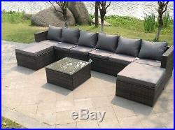 8 seater lounge wicker rattan sofa set footstool table outdoor garden furniture
