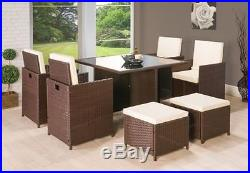 9Pc CUBE RATTAN GARDEN FURNITURE SET CHAIRS SOFA DINING TABLE OUTDOOR PATIO