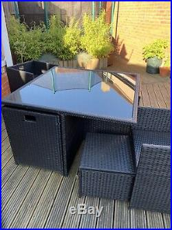 9 Piece Rattan Garden Furniture Set Table, Chairs And Stools