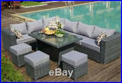 9 SEAT 1 dining TABLE Rattan Wicker Garden Furniture Conservatory Sofa SET GREY