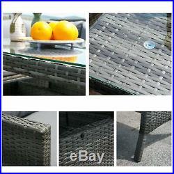 9 Seater Rattan Corner Garden Furniture Set Sofa Table Stool Patio Conservatory