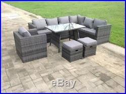 9 Seater Rattan Corner Garden Sofa Dining Table Set Chair Outdoor Furniture Grey