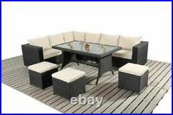 9 Seater Rattan Dining Table Garden Furniture Sofa Set Conservatory Outdoor Grey