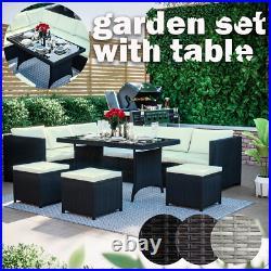 9 Seater Rattan Garden Furniture Set Cuber Corner Sofa Table Stool Outdoor Patio