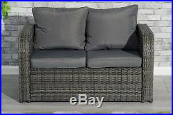 9 Seater Rattan Garden Furniture Set Sofa Chairs Table Conservatory Outdoor Grey