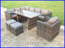 9 Seater Rattan Garden Sofa Dining Table Set Chair Outdoor Furniture Grey Patio