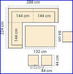 9 seat Fully Assembled Rattan Garden Patio Furniture Corner Sofa set Grey