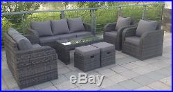 9 seater RATTAN GARDEN FURNITURE SET SOFA RECLINING CHAIRS CONSERVATORY OUTDOOR