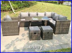 9 seater corner rattan sofa dining set chair table patio garden furniture grey
