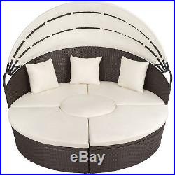 Alu rattan day bed garden furniture outdoor lounger sofa sun roof table brown an