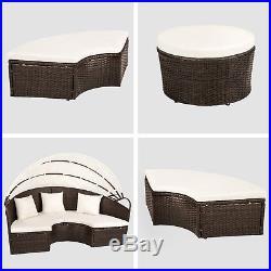 Alu rattan day bed garden furniture outdoor lounger sofa sun roof table brown mi