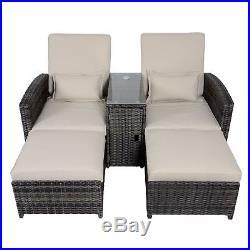 Antigua Rattan Wicker Reclining Sun Lounger Companion Chair Garden Furniture Set