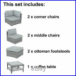 Azuma Outdoor Monaco 7pc Aluminium Rattan Garden Furniture Patio Sofa Set Grey
