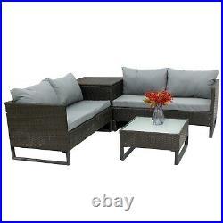 BIRCHTREE Rattan Garden Furniture Set Sofa Storage Box Glass Table Outdoor 03