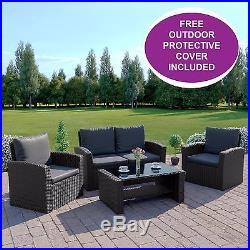 BLACK Rattan Weave Garden Furniture Patio Conservatory Sofa Set + FREE COVER