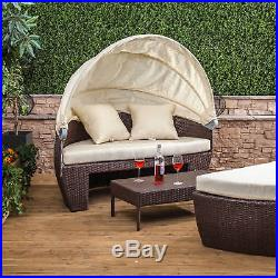 Bali Garden Sun Lounger Patio Furniture Sets Day Bed Large Outdoor Sofa Rattan