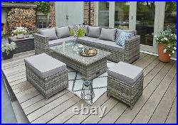Barcelona 9 Seater Grey Rattan Garden Furniture Dining Set With Rising Table