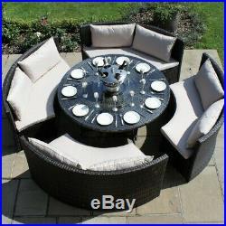 Bentley Rattan Outdoor Garden Furniture Brown Round Dining Table Sofa Set