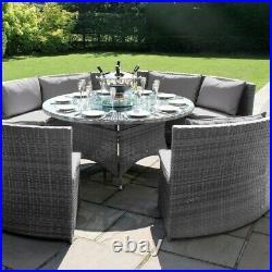 Bentley Rattan Outdoor Garden Furniture Grey Round Dining Table Sofa Set