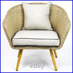 Bergholt 4 seat Vintage Rattan Garden Patio Stylish Outdoor Furniture Set Asha