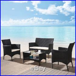 Black 4pcs Outdoor Patio Rattan Coffee Table Chairs Luxury Garden Furniture