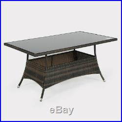 Black Brown Rattan Garden Dining Table With Glass Top Outdoor Patio Furniture