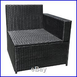 Black Conservatory 8 Seater Rattan Corner Sofa Set Patio Garden Furniture Set UK