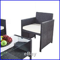 Black Outdoor Garden Furniture Rattan 3 Chairs and Table Set Patio Conservatory